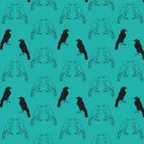 Modello senza cuciture di Raven Fotografia Stock Libera da Diritti
