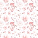 Modello senza cuciture di retro stile d'annata con il ritratto delle donne ed i fiori rosa delicati su fondo bianco royalty illustrazione gratis