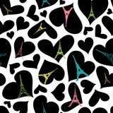 Modello senza cuciture di ripetizione di Parigi della torre di Eifel di vettore che scoppia con i cuori del nero di giorno di big Immagine Stock Libera da Diritti
