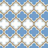 Modello senza cuciture di ripetizione marocchina di vettore Blu-chiaro, linea beige dell'oro su fondo bianco illustrazione di stock