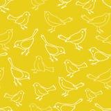 Modello senza cuciture di ripetizione di vettore giallo degli uccelli illustrazione di stock