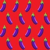 Modello senza cuciture di riserva della melanzana sulla carta da parati rossa del fondo, modello, web, blog, superficie, struttur Immagini Stock