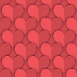 Modello senza cuciture di Salmon Paper Hearts Fotografia Stock