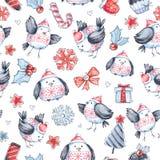 Modello senza cuciture di saluto dell'acquerello con gli uccelli di volo svegli Nuovo anno Illustrazione di celebrazione Buon Nat illustrazione di stock