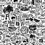 Modello senza cuciture di scarabocchio della griglia del barbecue del BBQ Progettazione variopinta del BBQ con iscrizione disegna Immagini Stock Libere da Diritti