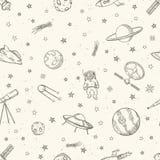 Modello senza cuciture di scarabocchio disegnato a mano di astronomia Fotografia Stock