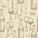 Modello senza cuciture di schizzo del vino della bevanda Backgro del ristorante della carta del vino Immagine Stock