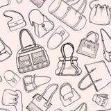 Modello senza cuciture di schizzo di modo delle borse di mano. Fotografia Stock