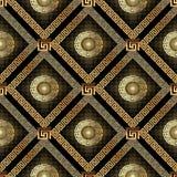 Modello senza cuciture di semitono punteggiato dell'oro 3d Greco geometrico di vettore Immagine Stock Libera da Diritti