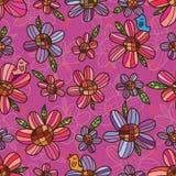 Modello senza cuciture di simmetria rosa porpora del fiore Fotografia Stock Libera da Diritti