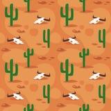 Modello senza cuciture di stile del fumetto di vettore con la superficie del deserto con il cactus royalty illustrazione gratis