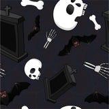 Modello senza cuciture di stile di orrore con le ossa, i crani, i pipistrelli e le pietre tombali immagini stock libere da diritti