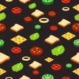 Modello senza cuciture di stile isometrico del panino degli ingredienti alimentari Vettore Fotografia Stock