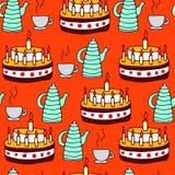 Modello senza cuciture di tè e della torta Fotografia Stock Libera da Diritti