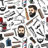 Modello senza cuciture di taglio di capelli di rasatura e dell'uomo del parrucchiere illustrazione vettoriale
