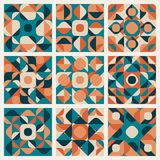 Modello senza cuciture di Teal Orange Retro Geometric Ethnic di vettore Fotografia Stock