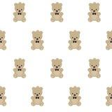 Modello senza cuciture di Teddy Bear su fondo bianco Immagini Stock Libere da Diritti