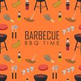 Modello senza cuciture di tempo del BBQ Concetto della griglia del barbecue Fotografia Stock