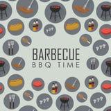 Modello senza cuciture di tempo del BBQ Concetto della griglia del barbecue Fotografie Stock Libere da Diritti