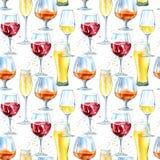 Modello senza cuciture di un champagne, di un cognac, di un vino, di una birra e di un vetro illustrazione vettoriale