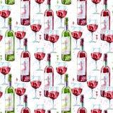 Modello senza cuciture di un vetro, di una bottiglia e di un vino rosso illustrazione vettoriale