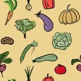 Modello senza cuciture di verdure disegnato a mano Illustrazione di vettore Immagini Stock