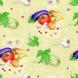 Modello senza cuciture di verdure su fondo giallo watercolor royalty illustrazione gratis