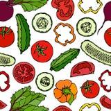 Modello senza cuciture di verdure di vettore con i cetrioli, pomodori rossi, peperone dolce, barbabietola Insalata verde fresca A Fotografie Stock Libere da Diritti