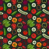 Modello senza cuciture di verdure di vettore con i cetrioli, pomodori rossi, peperone dolce, barbabietola Insalata verde fresca A Immagine Stock Libera da Diritti