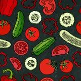 Modello senza cuciture di verdure di vettore con Mini Cucumbers, pomodori rossi, peperone dolce Insalata verde fresca Alimento ve Immagini Stock Libere da Diritti