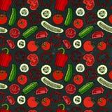 Modello senza cuciture di verdure di vettore con Mini Cucumbers, pomodori rossi, peperone dolce Insalata verde fresca Alimento ve Immagine Stock