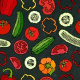 Modello senza cuciture di verdure di vettore con Mini Cucumbers, pomodori rossi, peperone dolce Insalata verde fresca Alimento ve Fotografie Stock