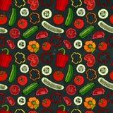 Modello senza cuciture di verdure di vettore con Mini Cucumbers, pomodori rossi, peperone dolce Insalata verde fresca Alimento ve Immagini Stock