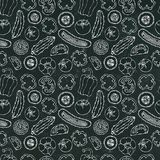 Modello senza cuciture di verdure di vettore con Mini Cucumbers, pomodori rossi, peperone dolce Insalata verde fresca Alimento ve Fotografie Stock Libere da Diritti