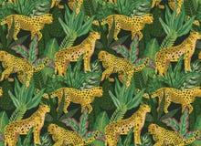 Modello senza cuciture di Vestor con i giaguari, le foglie tropicali e le piante royalty illustrazione gratis