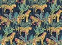 Modello senza cuciture di Vestor con i giaguari, le foglie tropicali e le piante illustrazione di stock