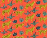 Modello senza cuciture di Vestor con i giaguari, le foglie tropicali e le piante illustrazione vettoriale