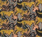 Modello senza cuciture di Vestor con i giaguari, le foglie tropicali ed i fiori royalty illustrazione gratis