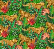 Modello senza cuciture di Vestor con i giaguari, le foglie tropicali ed i fiori illustrazione di stock