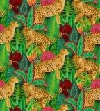 Modello senza cuciture di Vestor con i giaguari, le foglie tropicali ed i fiori illustrazione vettoriale