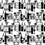 Modello senza cuciture di vetro di vino, dei barilotti, dell'uva e delle bottiglie Immagini Stock Libere da Diritti