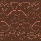 Modello senza cuciture di vetro, retro occhiali da sole Fotografia Stock Libera da Diritti