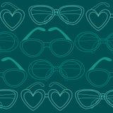 Modello senza cuciture di vetro, retro occhiali da sole Illustrazione di vettore Fotografia Stock Libera da Diritti