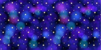 Modello senza cuciture di vettore: Cielo con le stelle, fondo variopinto royalty illustrazione gratis