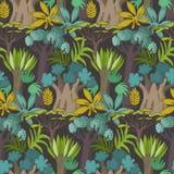 Modello senza cuciture di vettore con gli alberi e le piante africani del fumetto illustrazione vettoriale