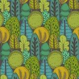 Modello senza cuciture di vettore con gli alberi forestali disegnati a mano, piante, fiori illustrazione di stock