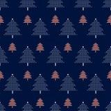 Modello senza cuciture di vettore con gli alberi di Natale Fondo del nuovo anno, modello Immagini Stock Libere da Diritti