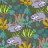 Modello senza cuciture di vettore con gli animali del fumetto, le piante della giungla e gli alberi africani illustrazione vettoriale
