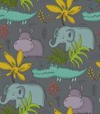 Modello senza cuciture di vettore con gli animali del fumetto, le piante della giungla e gli alberi africani royalty illustrazione gratis