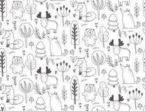 Modello senza cuciture di vettore con gli animali selvaggi disegnati a mano della foresta, illustrazione di stock